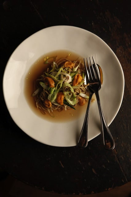 Spelt Spaghetti with Kombu and Onion Broth