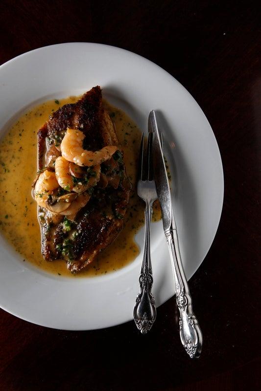 Brigtsen's Pan-Fried Drum Fish with Shrimp Diane Sauce