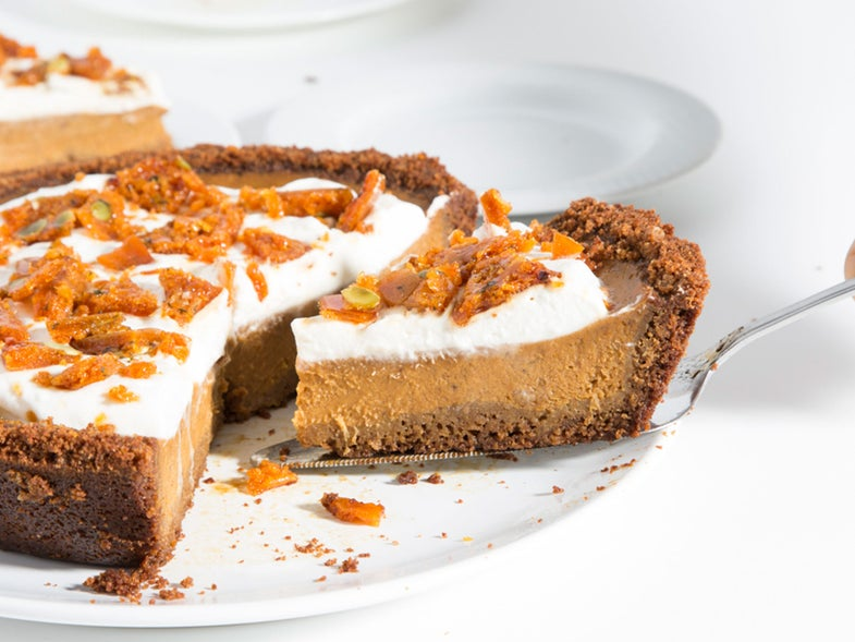 Pumpkin Pie with Graham Cracker Crust and Pepita-Sage Brittle