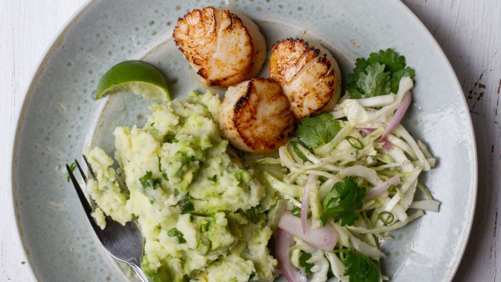 Scallops with Avocado Mashed Potatoes