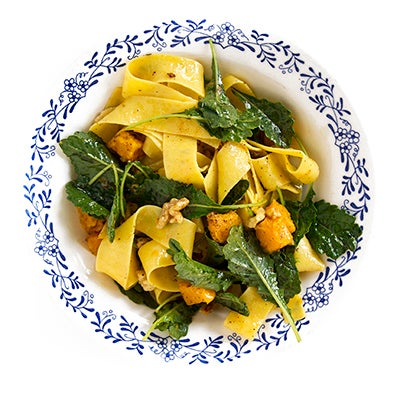 Pappardelle with Butternut Squash, Walnuts and Baby Kale