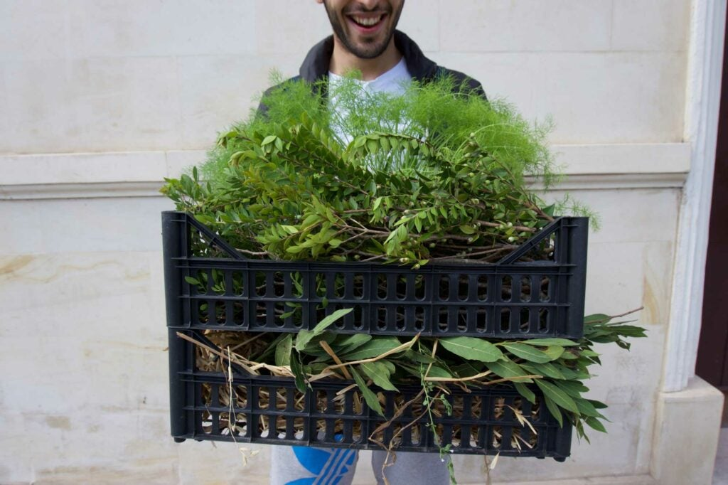 Back at his restaurant, Bros' in Lecce, chef Floriano Pellegrino shows off his foraging bounty from Scorrano.