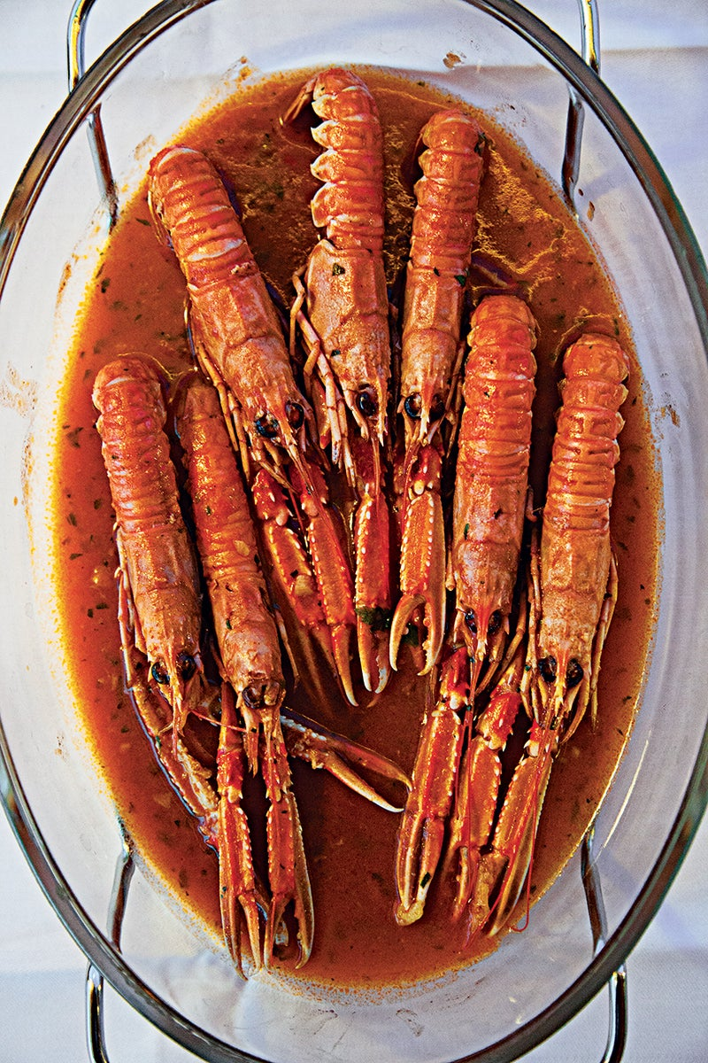 Langoustines in Tomato, Garlic, and Wine Sauce
