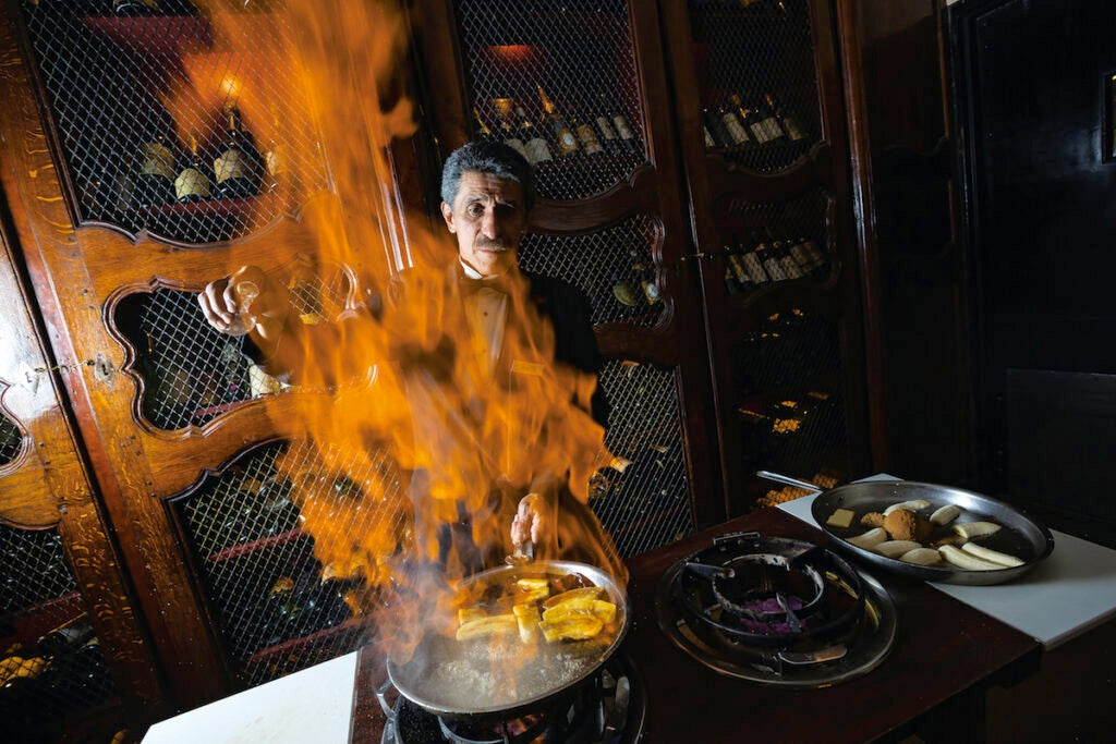 man making Bananas Foster