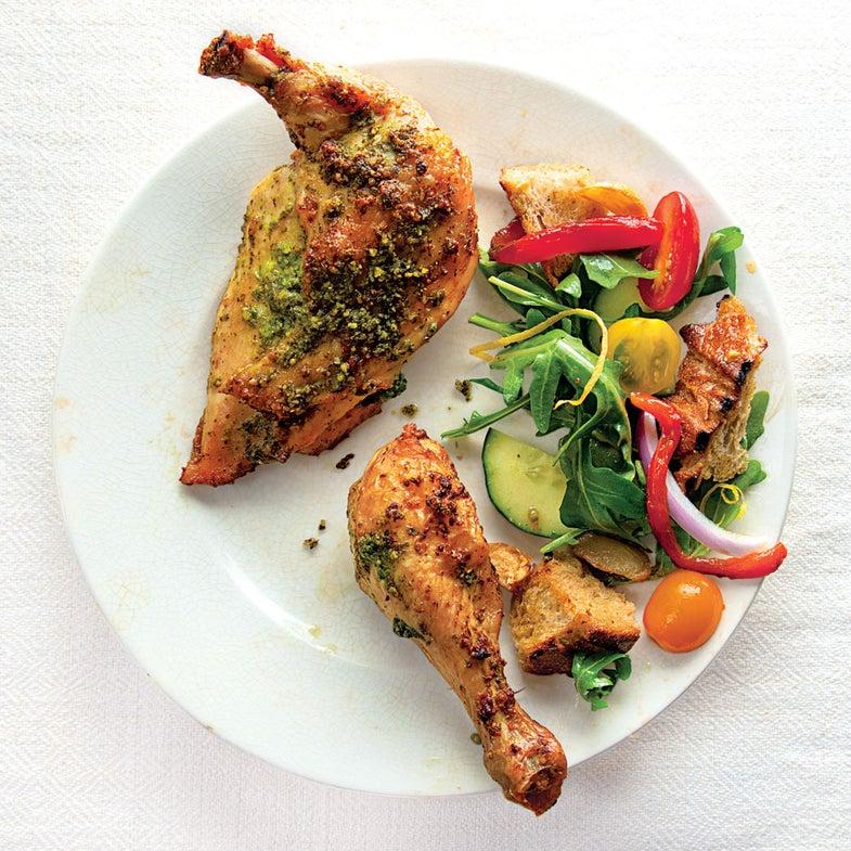Pesto-Rubbed Chicken with Panzanella