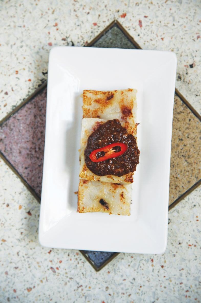 Daikon Cake with Garlic Hoisin Sauce (Luo Go Bao)