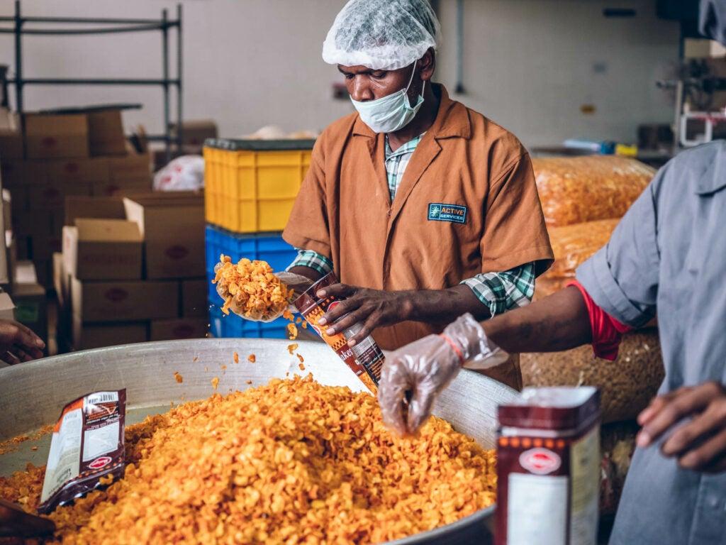 Packing Maiyas cornflake masala