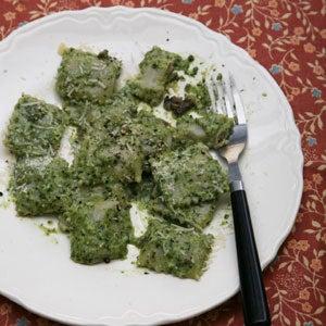Mushroom Ravioli with Pesto