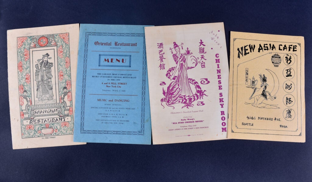 Four of Harley Spiller's Chinese menus