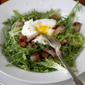 Frisee Salad with Poached Eggs and Bacon