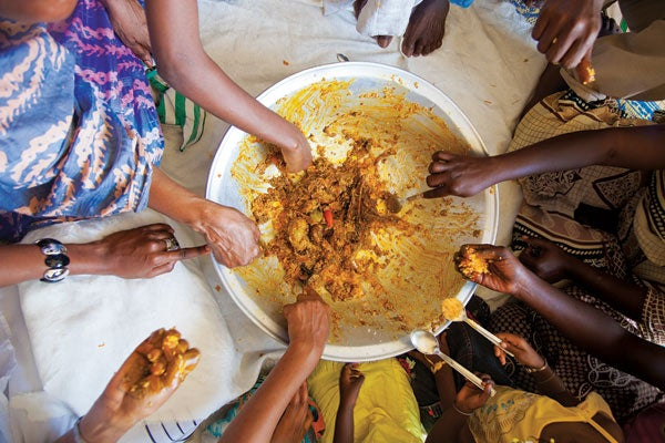 The remains of a meal at the home of the Gueye family, in Dakar