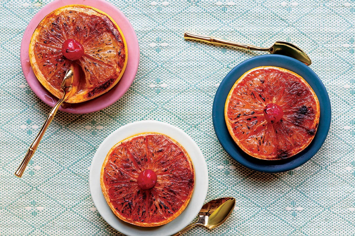 Rum-broiled grapefruit
