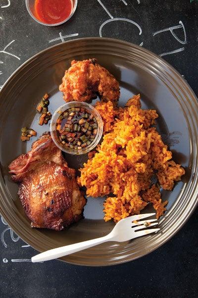 Guam-Style Chicken with Red Rice (Tininon Mannok yan Hineska' Agaga)