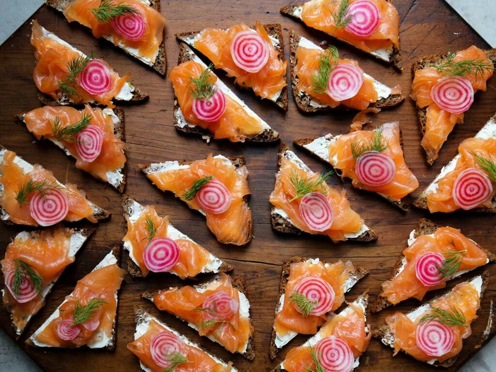 Proof that smoked salmon on cream cheese and rye bread isn't just for breakfast