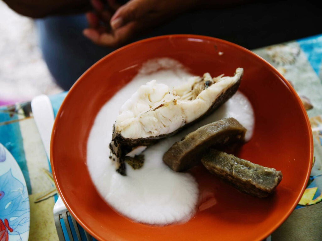 a plate of taro served with mitihue