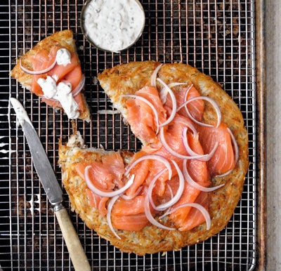 """""""Everything"""" Potato Galette with Lox and Creme Fraiche"""