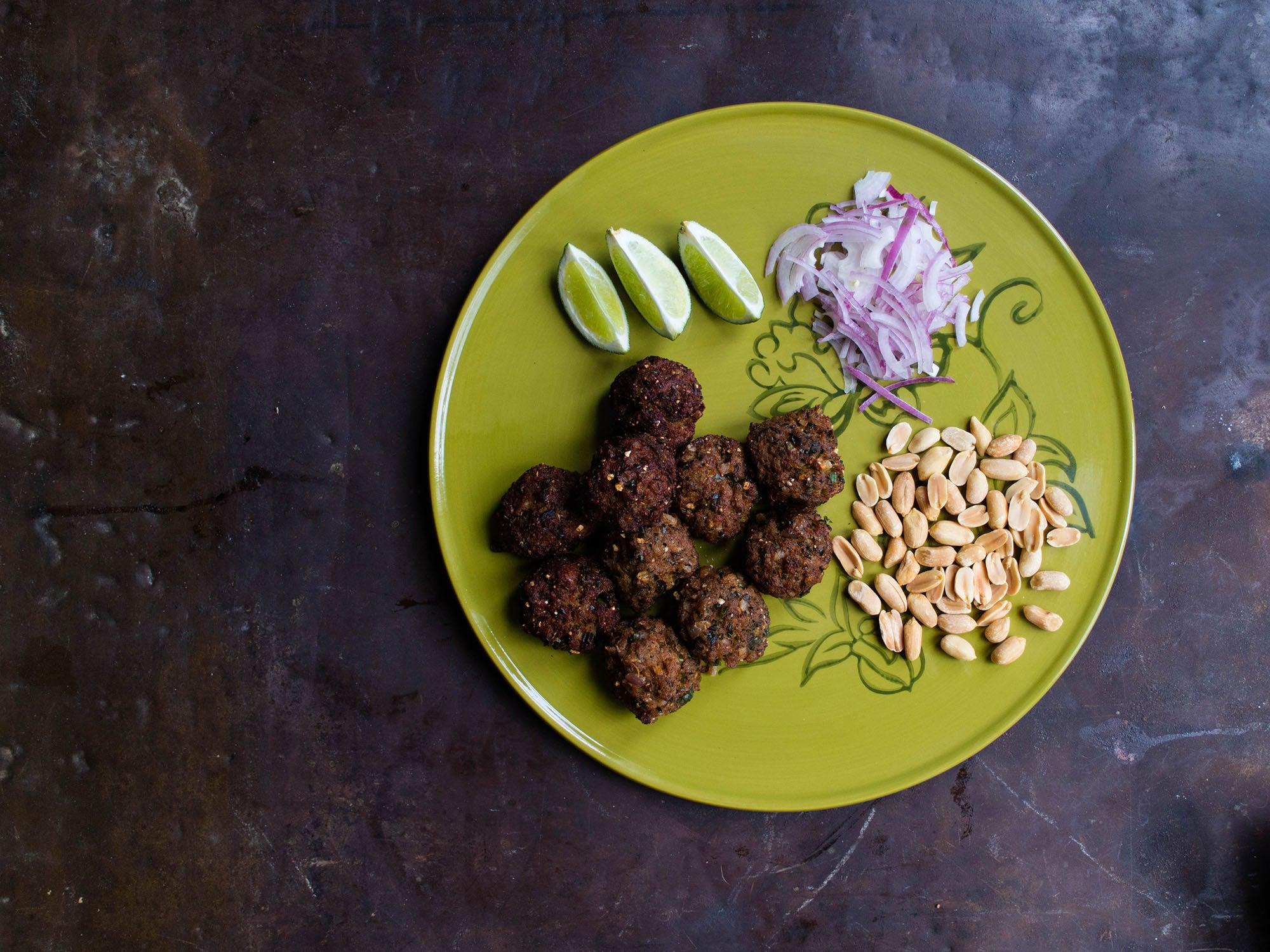 Laab Tod (Deep Fried Spicy Isaan Laab Balls)