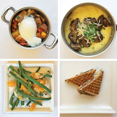 Prime rib hash with sous-vide eggs; polenta with cremini mushrooms and Parmesan; prime rib panini; sauteed green beans with orange supremes