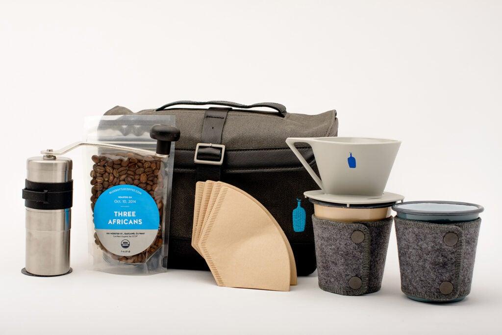 Blue bottle and timbuk2 travel coffee kit