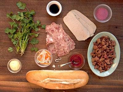 Inside a Banh Mi Sandwich