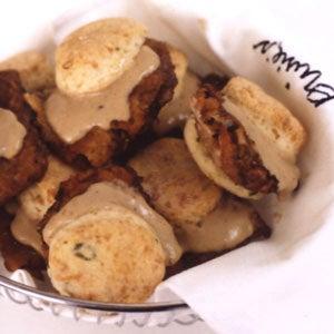 Ouisie's Chicken Fried Steak with Pepper Gravy in Biscuits