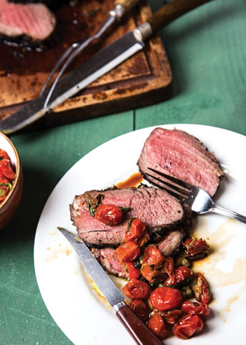 Grilled Herb-Marinated Entrecôte of Lamb with Roasted Tomato Sauce