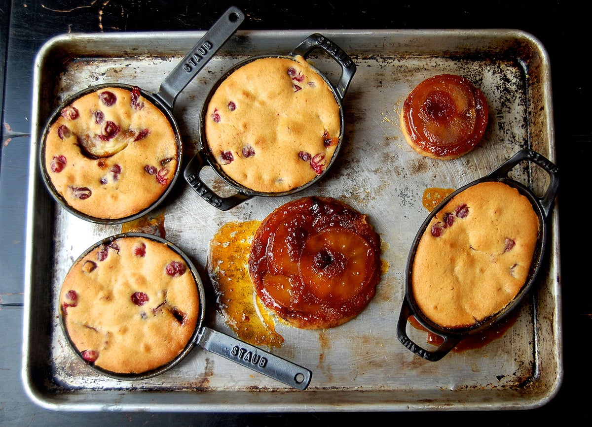 Apple and Cranberry Upside-Down Cakes