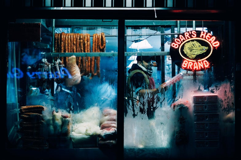 NYC Meat Vendor After Dark