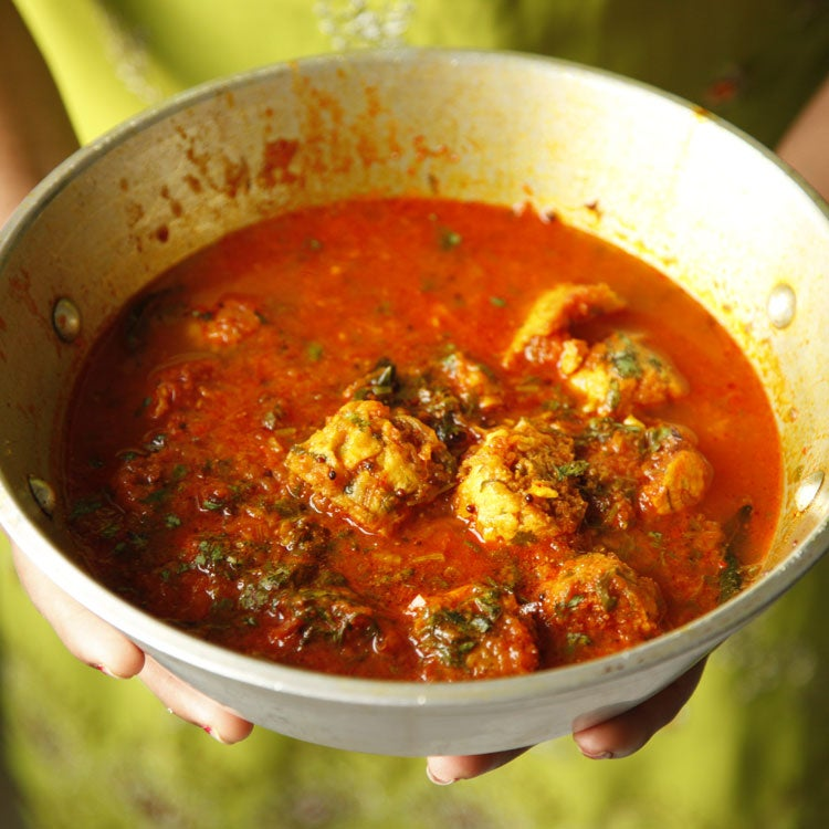 Chickpea-flour Dumplings in Spiced Tomato Sauce (Dharan Ji Kadhi)