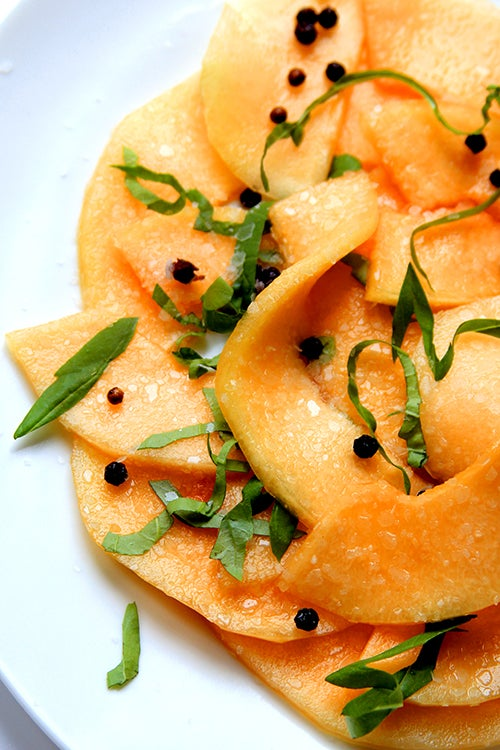 Black Pepper and Honey-Marinated Cantaloupe with Basil
