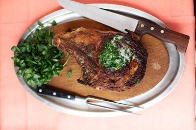 Côte de Boeuf aux Beurre Maître d'Hôtel (Grilled Rib Eye Steak with Herb Butter)