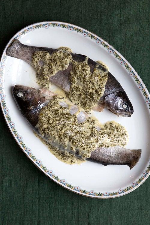 Trout in Sorrel Sauce (Forelle mit Sauerampfersosse)