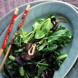 Asian Green Salad with Sweet Shallot Vinaigrette
