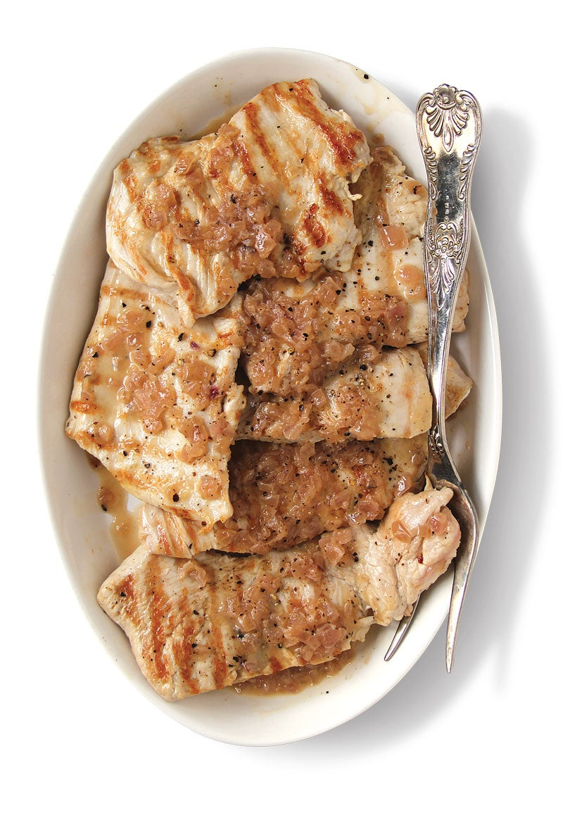 Grilled Turkey Breast with Caramelized Onion, Cracked Black Pepper, and Vinegar