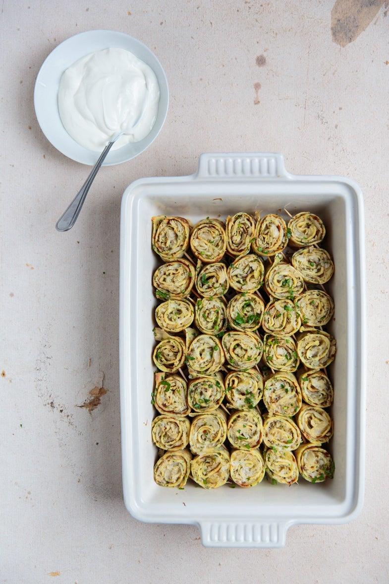 Rolled Sauerkraut Crepes