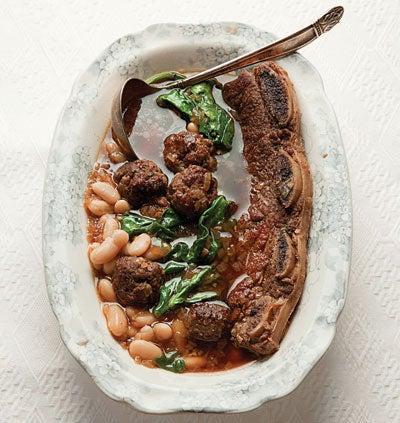 Beef Rib and Meatball Stew (T'fina Pkaila)