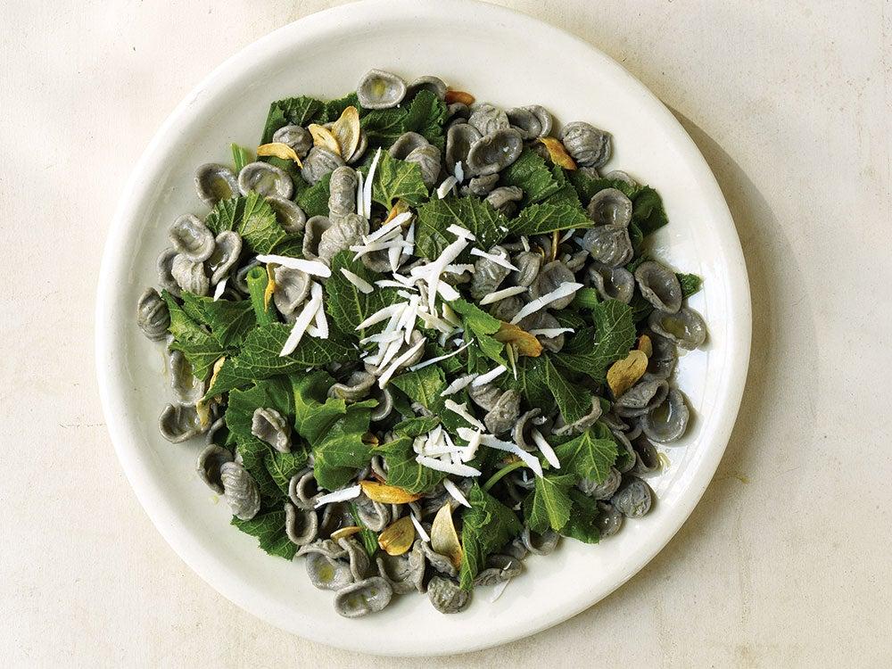 Grano Arso Orecchiette with Zucchini Leaves