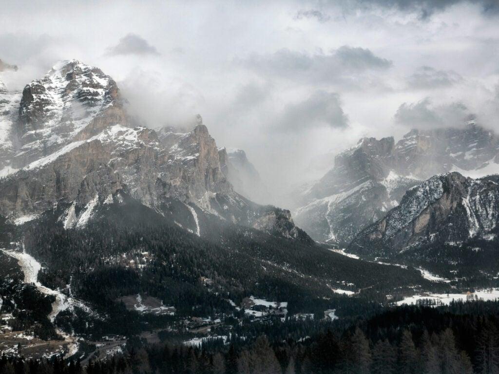 Snow in the Dolomites, Italy