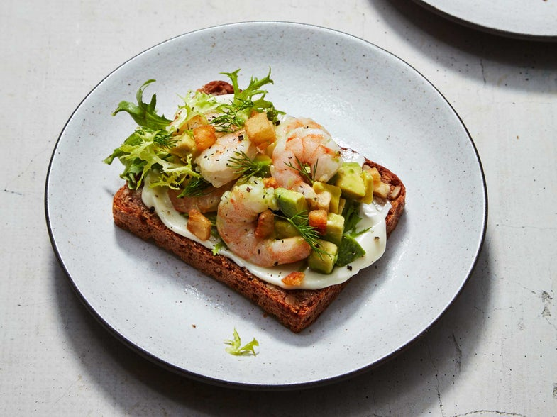 Shrimp, Avocado, Crispy Potatoes, Copenhagen, Smorrebrod