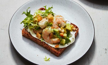 Shrimp, Avocado, and Crispy Potato Smorrebrod