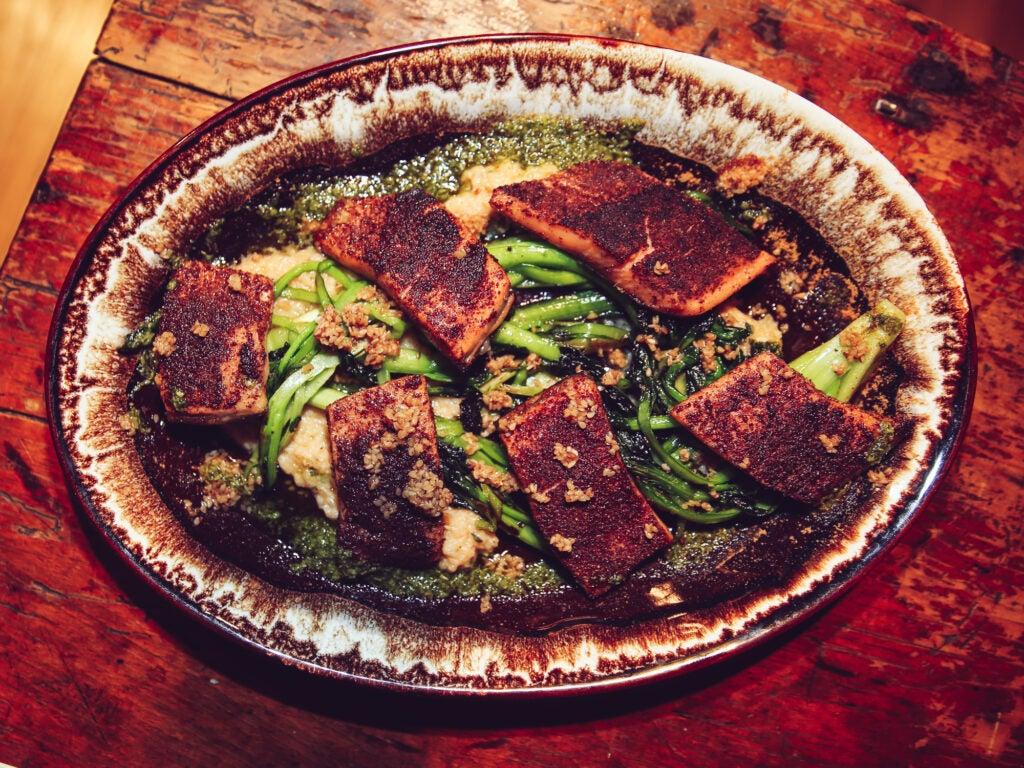 Saveur Supper Sumac-cured Sunburst trout with tatsoi