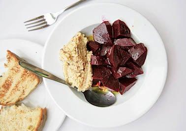 Pantzaria me Skordalia (Roasted Beets with Garlic–Potato Spread)