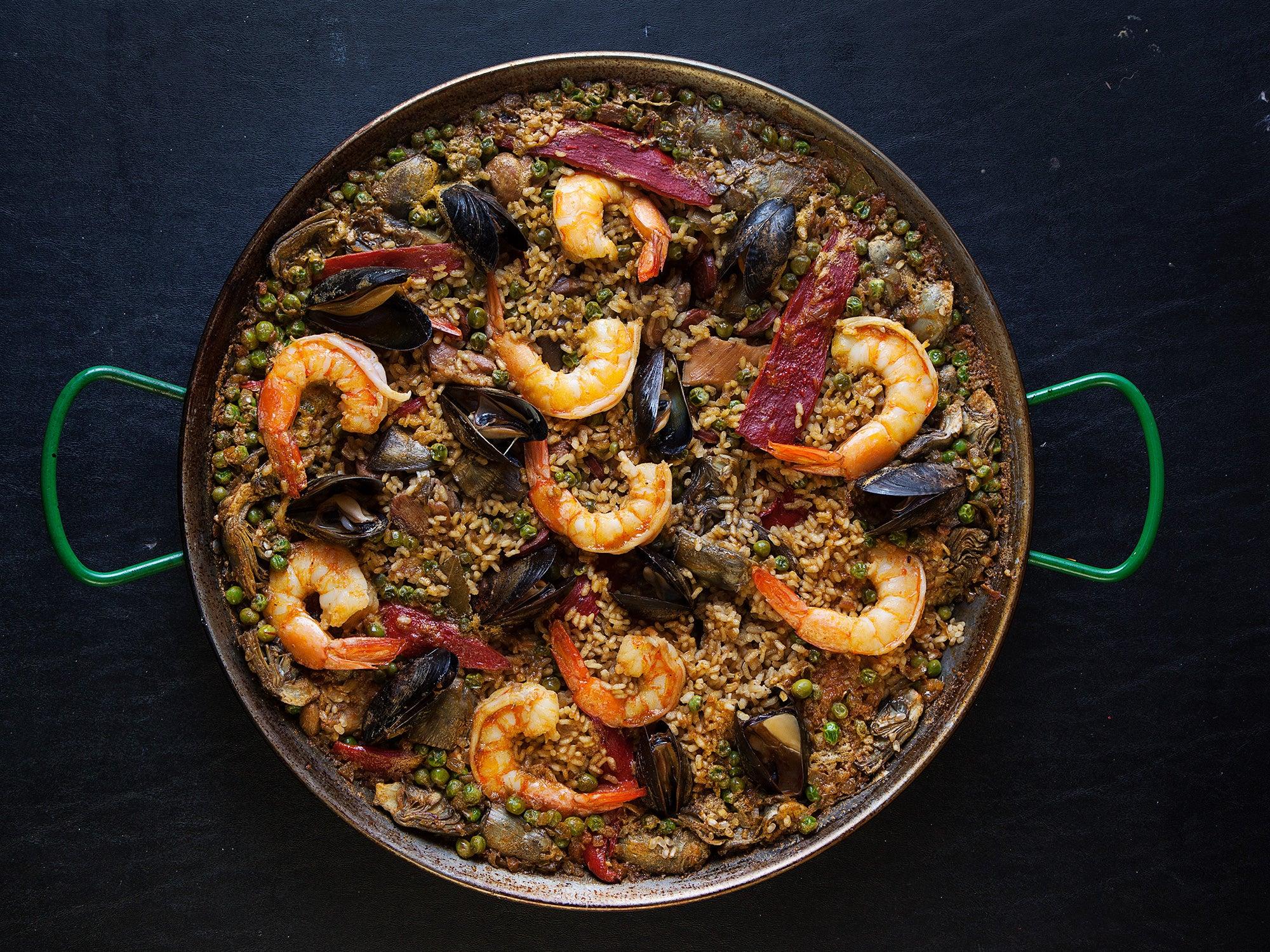 Paella with Chorizo, Chicken, and Shrimp (Paella Mixta)