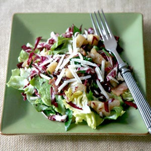 Warm Salad with Jerusalem Artichokes, Bacon, and Radicchio