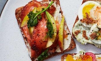 Salmon Gravlax, Apple, and Crispy Kale Smorrebrod
