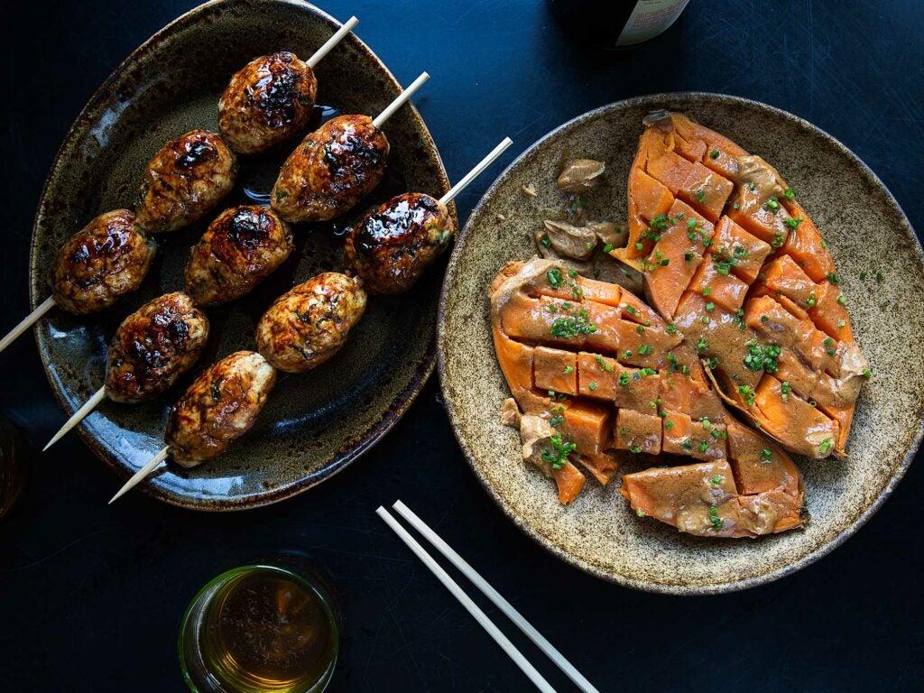 Tsukune and sweet potatoes