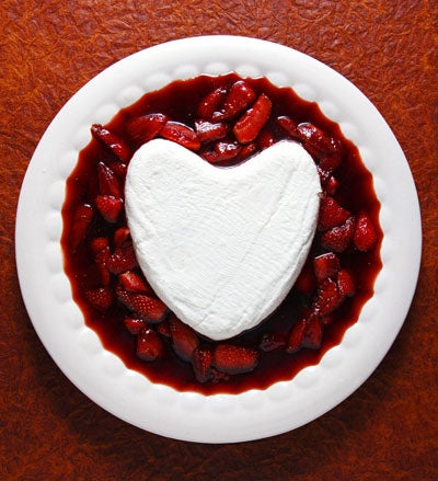 Coeur a la Creme with Caramelized Strawberries