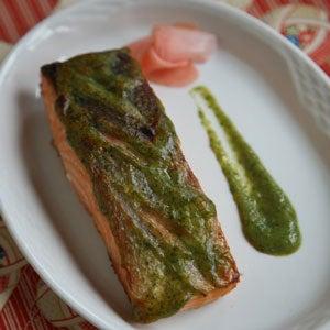 Miso-Marinated Salmon with Green Sauce