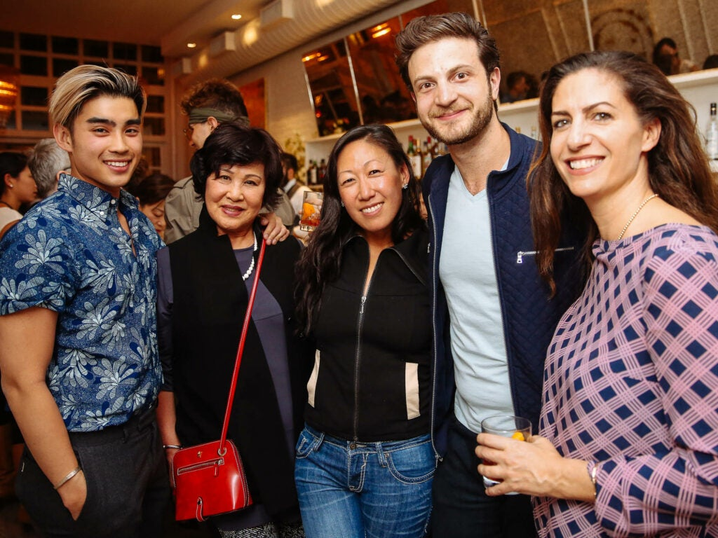 Dan Q. Dao of SAVEUR, influencer Christine Yi and her mom, influencer Jeremy Jacobowitz, and publicist Evyn Block take a break from eating.