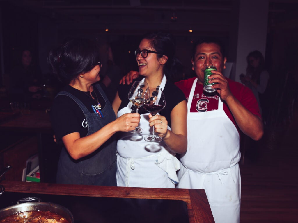 Sohui Kim and the Good Fork team have a drink after dinner